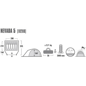 High Peak Nevada 5 - Tente - gris